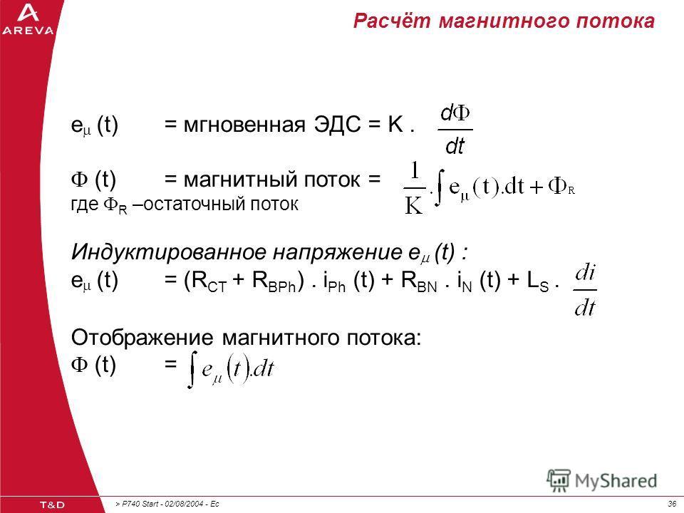 > P740 Start - 02/08/2004 - Ec36 Расчёт магнитного потока e (t) = мгновенная ЭДС = K. (t)= магнитный поток = где R –остаточный поток Индуктированное напряжение e (t) : e (t)= (R CT + R BPh ). i Ph (t) + R BN. i N (t) + L S. Отображение магнитного пот