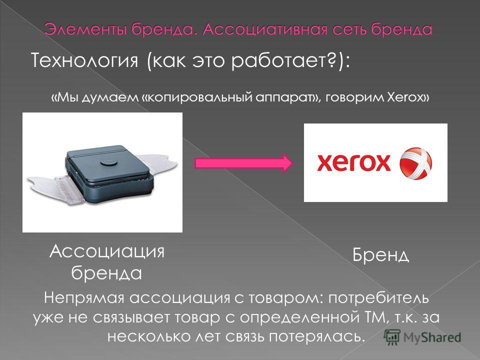 Технология (как это работает?): «Мы думаем «копировальный аппарат», говорим Xerox» Ассоциация бренда Бренд Непрямая ассоциация с товаром: потребитель уже не связывает товар с определенной ТМ, т.к. за несколько лет связь потерялась.