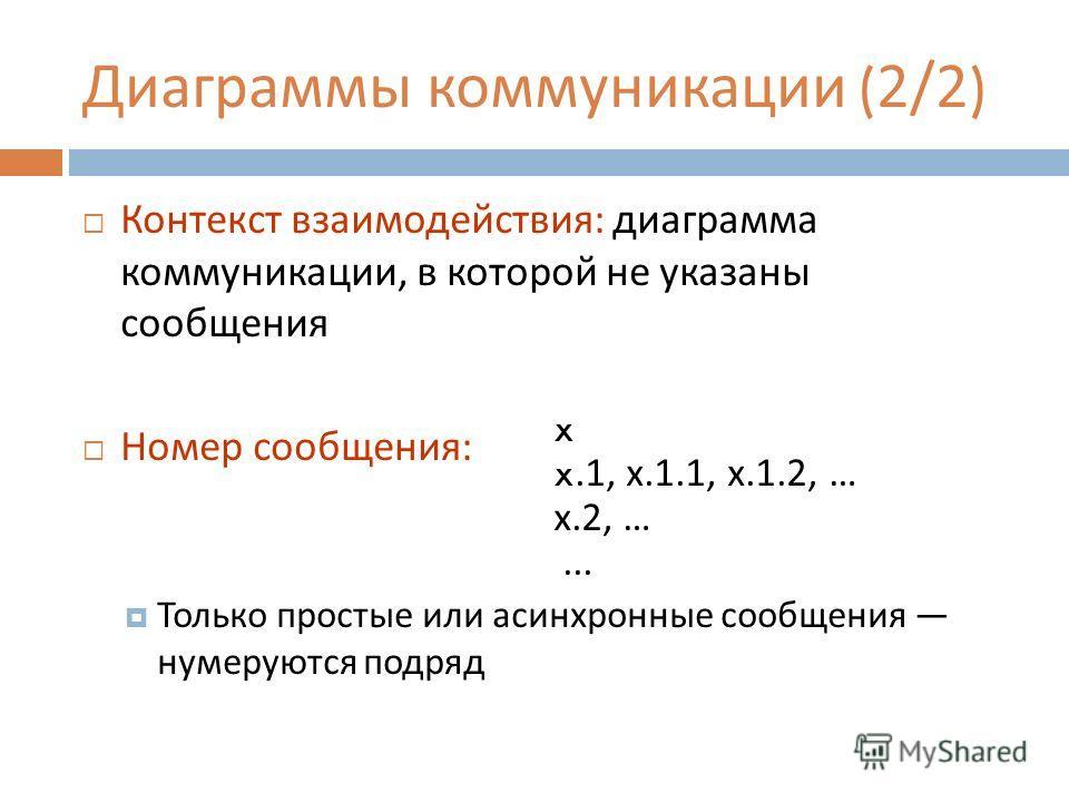 Диаграммы коммуникации (2/2) Контекст взаимодействия : диаграмма коммуникации, в которой не указаны сообщения Номер сообщения : Только простые или асинхронные сообщения нумеруются подряд x x.1, х.1.1, х.1.2, … x.2, …...
