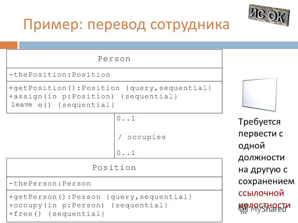 Пример : перевод сотрудника Требуется первести с одной должности на другую с сохранением ссылочной целостности leave