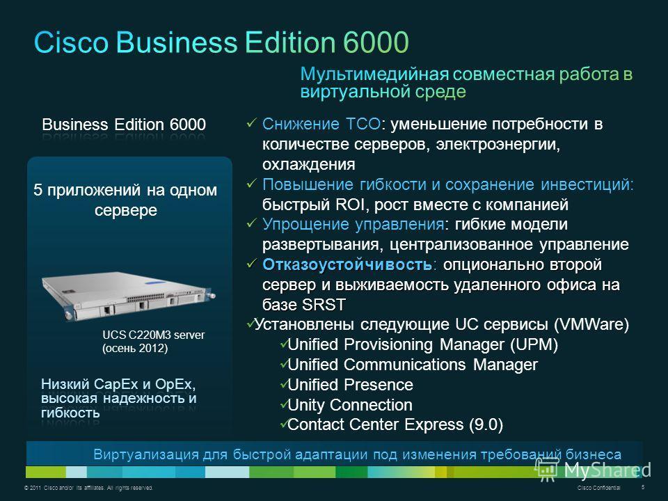 © 2011 Cisco and/or its affiliates. All rights reserved. Cisco Confidential 5 5 приложений на одном сервере Виртуализация для быстрой адаптации под изменения требований бизнеса Снижение TCO: уменьшение потребности в количестве серверов, электроэнерги