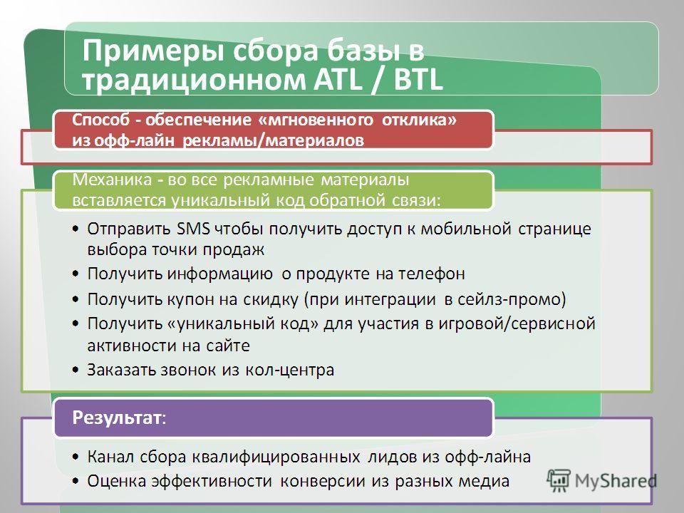 Примеры сбора базы в традиционном ATL / BTL