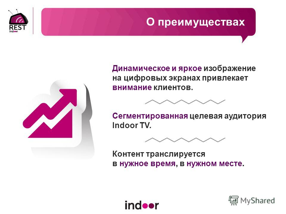 О преимуществах Динамическое и яркое изображение на цифровых экранах привлекает внимание клиентов. Сегментированная целевая аудитория Indoor TV. Контент транслируется в нужное время, в нужном месте.