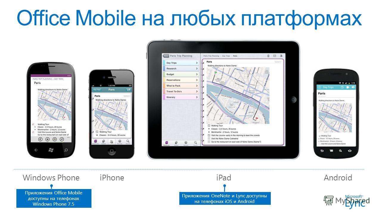 iPhoneAndroidiPadWindows Phone Приложения Office Mobile доступны на телефонах Windows Phone 7.5 Приложения OneNote и Lync доступны на телефонах iOS и Android