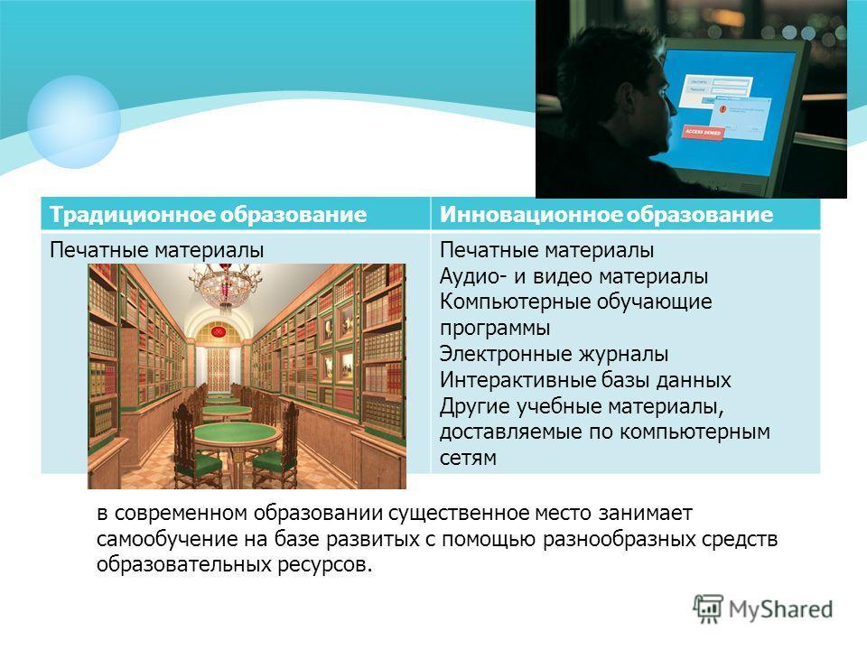 Традиционное образованиеИнновационное образование Печатные материалыПечатные материалы Аудио- и видео материалы Компьютерные обучающие программы Электронные журналы Интерактивные базы данных Другие учебные материалы, доставляемые по компьютерным сетя