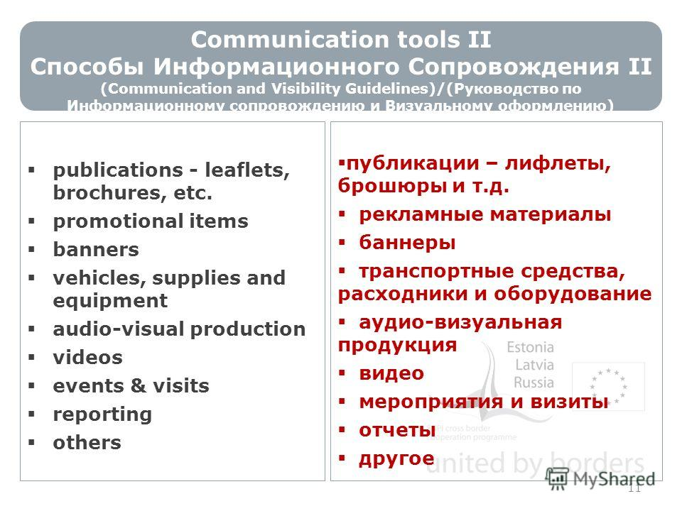 Communication tools II Способы Информационного Сопровождения II (Communication and Visibility Guidelines)/(Руководство по Информационному сопровождению и Визуальному оформлению) 11 publications - leaflets, brochures, etc. promotional items banners ve