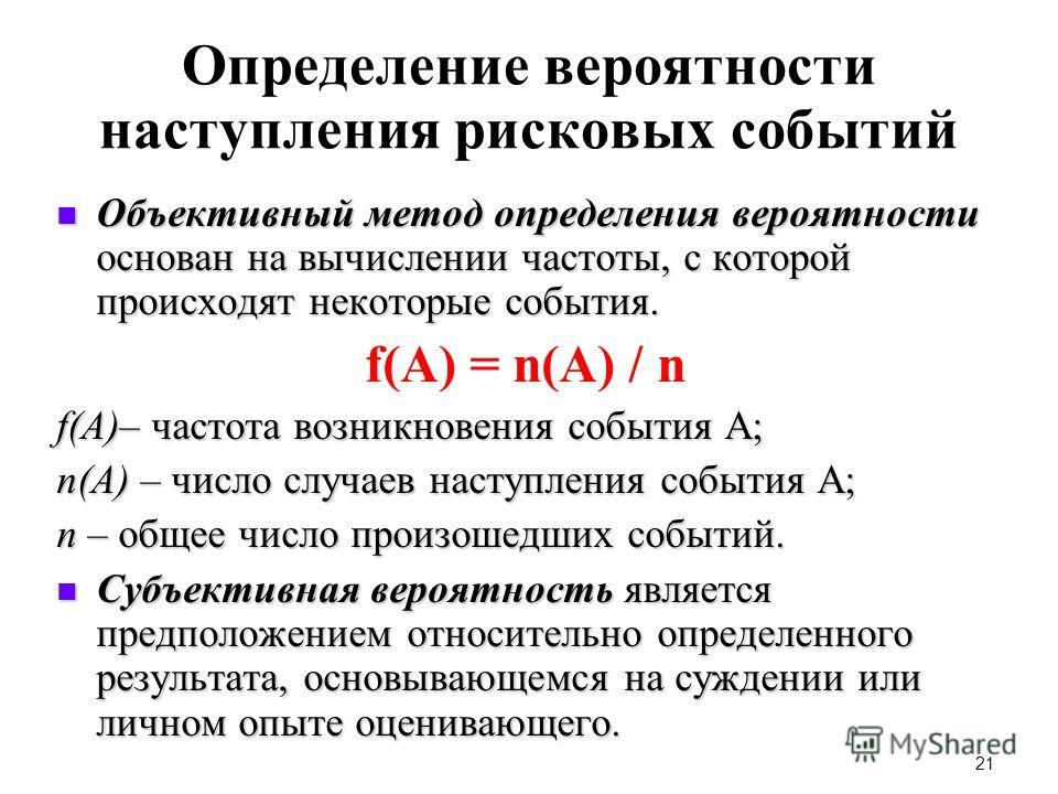 21 Определение вероятности наступления рисковых событий Объективный метод определения вероятности основан на вычислении частоты, с которой происходят некоторые события. Объективный метод определения вероятности основан на вычислении частоты, с которо