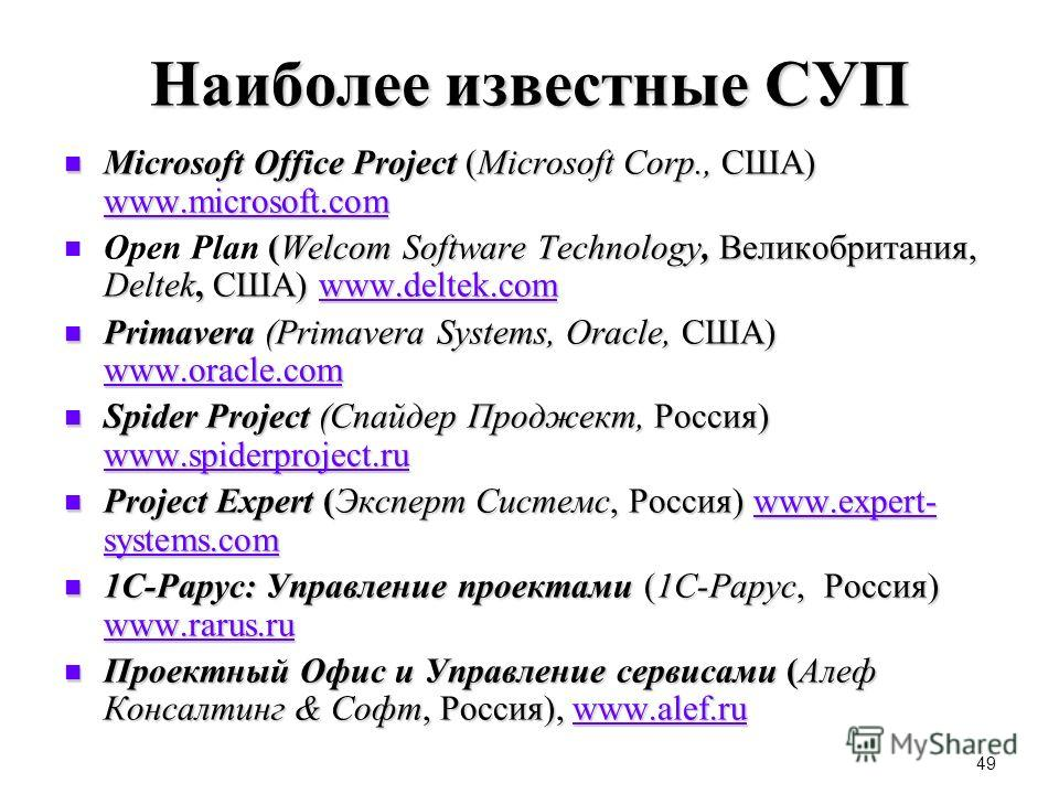 49 Наиболее известные СУП Microsoft Office Project (Microsoft Corp., США) www.microsoft.com Microsoft Office Project (Microsoft Corp., США) www.microsoft.com www.microsoft.com (Welcom Software Technology, Великобритания, Deltek, США) www.deltek.com O