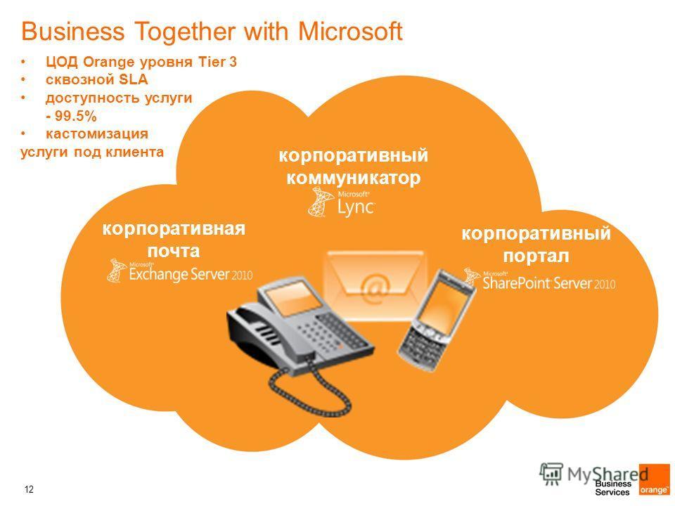 12 Business Together with Microsoft корпоративная почта корпоративный коммуникатор корпоративный портал ЦОД Orange уровня Tier 3 сквозной SLA доступность услуги - 99.5% кастомизация услуги под клиента