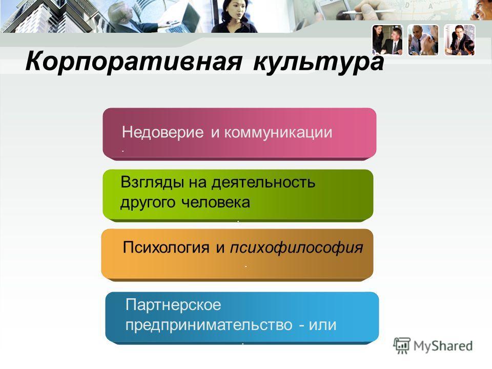 Корпоративная культура Взгляды на деятельность другого человека. Недоверие и коммуникации. Психология и психофилософия. Партнерское предпринимательство - или.