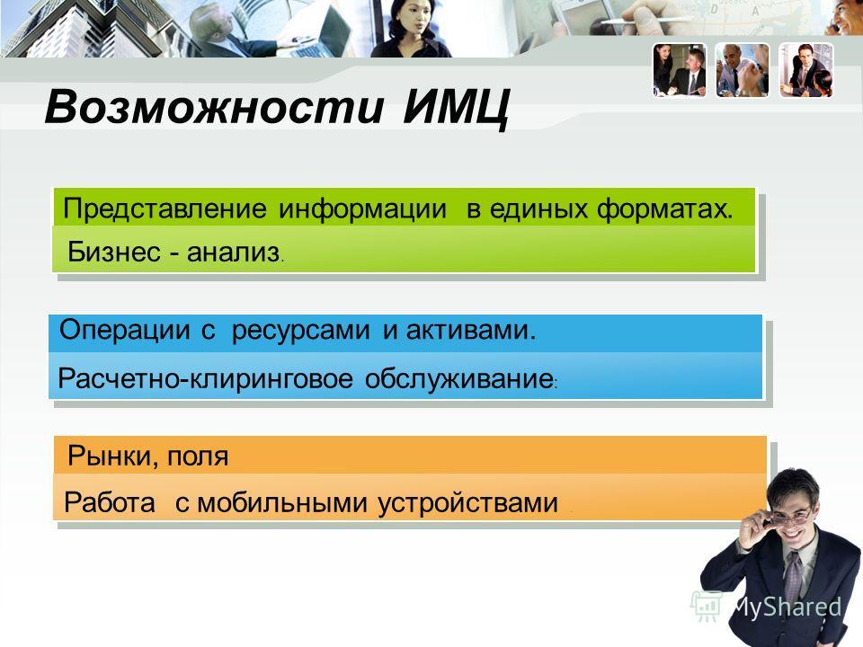 Возможности ИМЦ Расчетно-клиринговое обслуживание : Работа с мобильными устройствами. Операции с ресурсами и активами. Рынки, поля Бизнес - анализ. Представление информации в единых форматах.