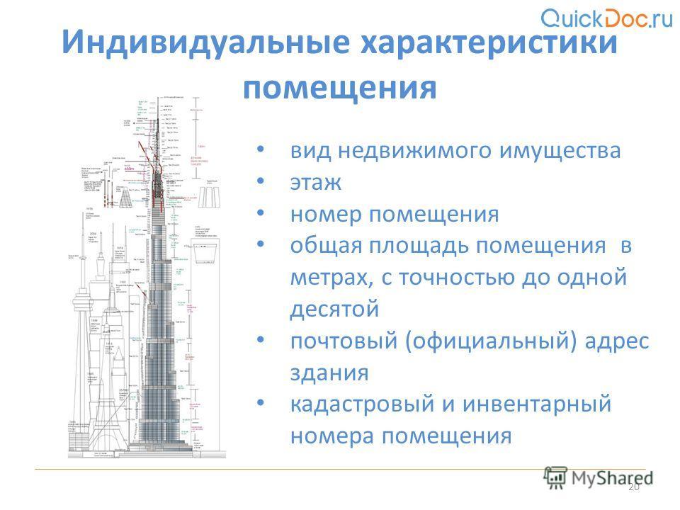 Индивидуальные характеристики помещения 20 вид недвижимого имущества этаж номер помещения общая площадь помещения в метрах, с точностью до одной десятой почтовый (официальный) адрес здания кадастровый и инвентарный номера помещения