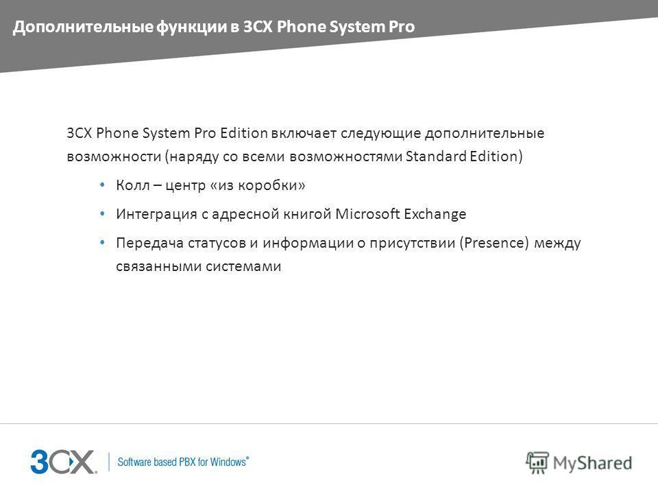 Дополнительные функции в 3CX Phone System Pro 3CX Phone System Pro Edition включает следующие дополнительные возможности (наряду со всеми возможностями Standard Edition) Колл – центр «из коробки» Интеграция с адресной книгой Microsoft Exchange Переда