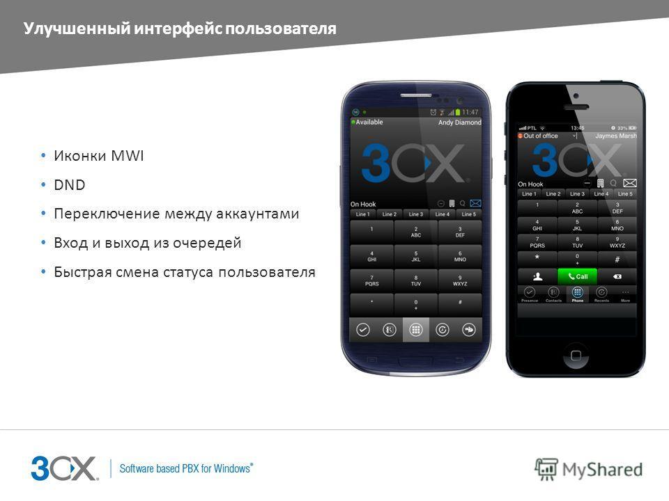 Улучшенный интерфейс пользователя Иконки MWI DND Переключение между аккаунтами Вход и выход из очередей Быстрая смена статуса пользователя