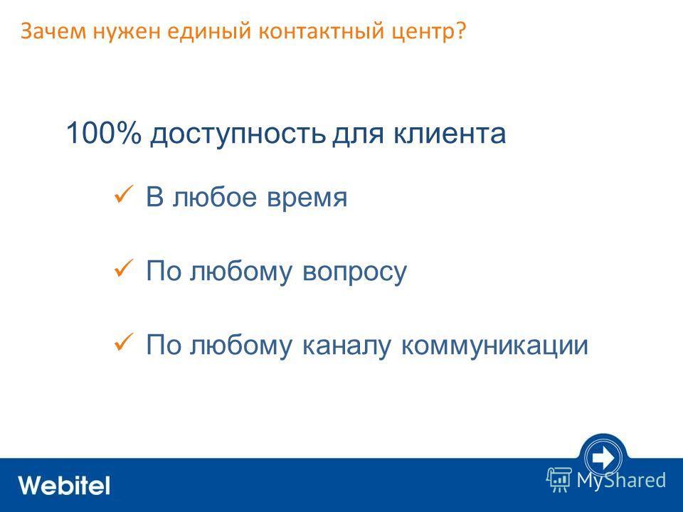 Зачем нужен единый контактный центр? 100% доступность для клиента В любое время По любому вопросу По любому каналу коммуникации