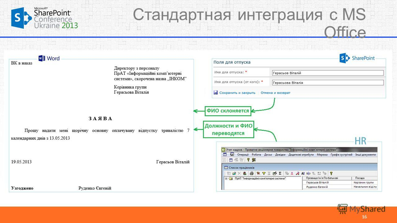 Стандартная интеграция с MS Office 16