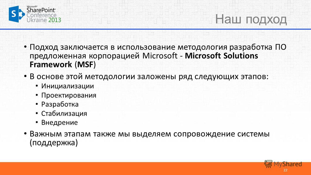 Наш подход Подход заключается в использование методология разработка ПО предложенная корпорацией Microsoft - Microsoft Solutions Framework (MSF) В основе этой методологии заложены ряд следующих этапов: Инициализации Проектирования Разработка Стабилиз