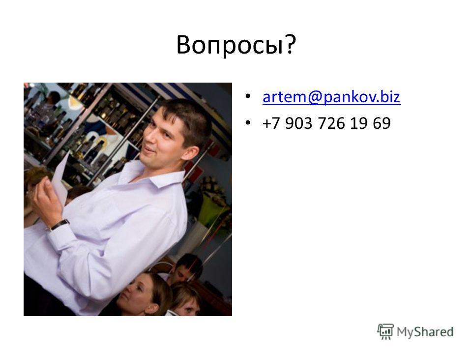 Вопросы? artem@pankov.biz +7 903 726 19 69