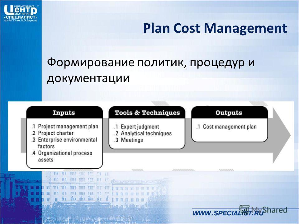 Plan Cost Management Формирование политик, процедур и документации