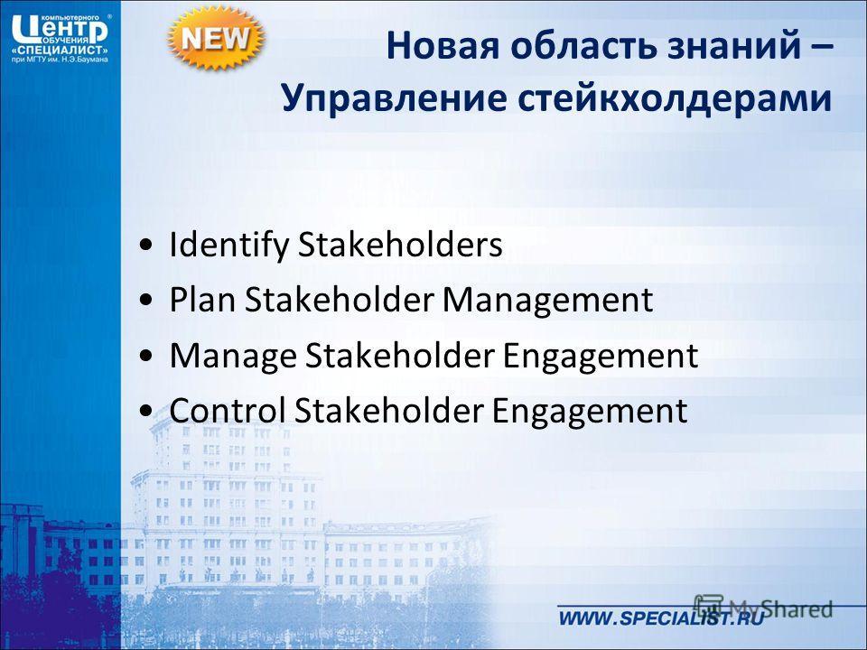 Новая область знаний – Управление стейкхолдерами Identify Stakeholders Plan Stakeholder Management Manage Stakeholder Engagement Control Stakeholder Engagement