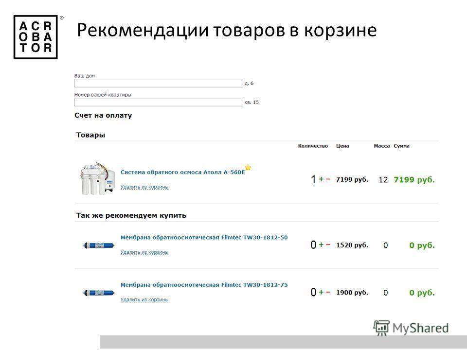 Рекомендации товаров в корзине
