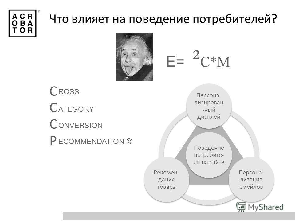 Что влияет на поведение потребителей? Поведение потребите- ля на сайте Персона- лизирован -ный дисплей Персона- лизация емейлов Рекомен- дация товара E=1 ² C*M СССРСССР ROSS ATEGORY ONVERSION ECOMMENDATION