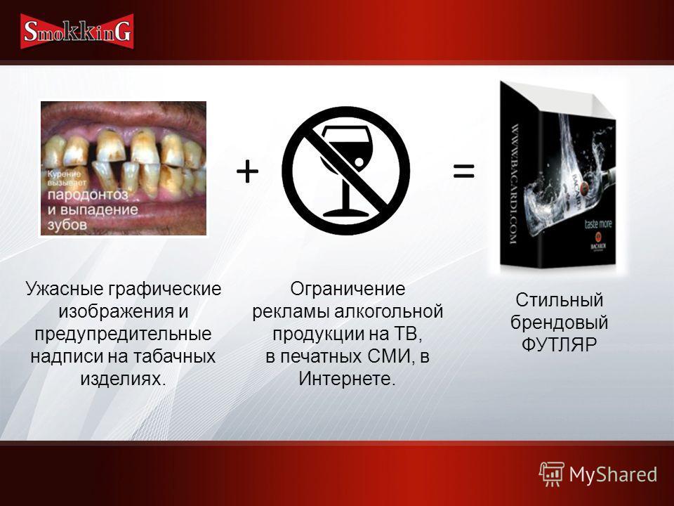 Ужасные графические изображения и предупредительные надписи на табачных изделиях. + Ограничение рекламы алкогольной продукции на ТВ, в печатных СМИ, в Интернете. = Стильный брендовый ФУТЛЯР