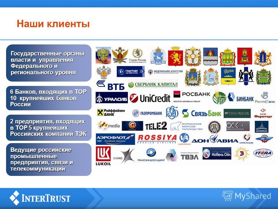 Наши клиенты Государственные органы власти и управления Федерального и регионального уровня 6 Банков, входящих в ТОР 10 крупнейших банков России 2 предприятия, входящих в ТОР 5 крупнейших Российских компаний ТЭК Ведущие российские промышленные предпр