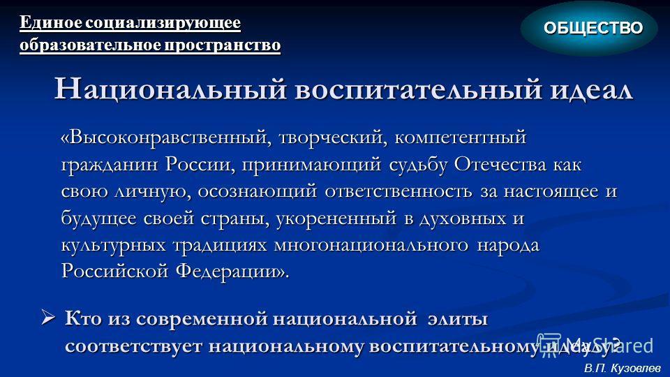 «Высоконравственный, творческий, компетентный гражданин России, принимающий судьбу Отечества как свою личную, осознающий ответственность за настоящее и будущее своей страны, укорененный в духовных и культурных традициях многонационального народа Росс