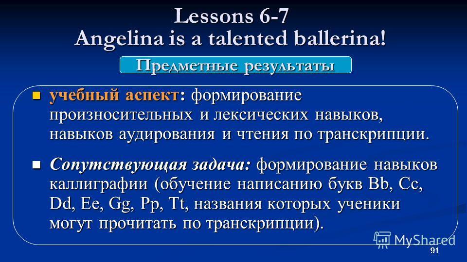 91 Lessons 6-7 Angelina is a talented ballerina! Lessons 6-7 Angelina is a talented ballerina! учебный аспект: формирование произносительных и лексических навыков, навыков аудирования и чтения по транскрипции. учебный аспект: формирование произносите