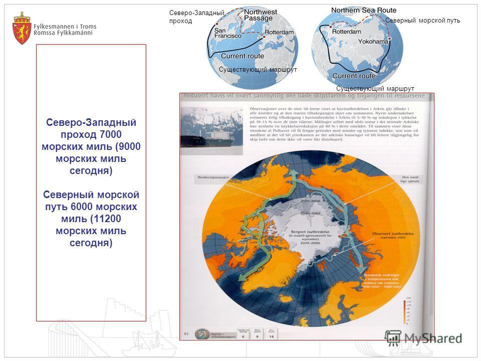 Северо-Западный проход 7000 морских миль (9000 морских миль сегодня) Северный морской путь 6000 морских миль (11200 морских миль сегодня) Северо-Западный проход Существующий маршрут Северный морской путь Существующий маршрут