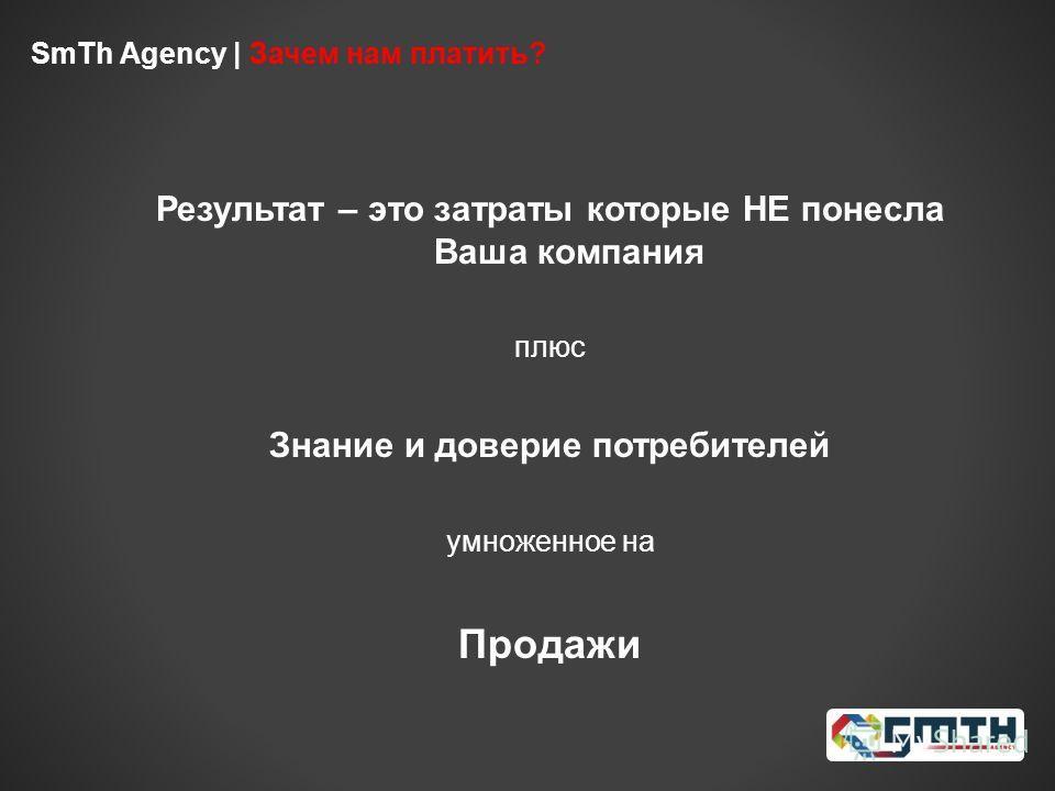 SmTh Agency | Зачем нам платить? Результат – это затраты которые НЕ понесла Ваша компания плюс Знание и доверие потребителей умноженное на Продажи