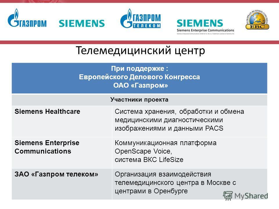 Телемедицинский центр При поддержке : Европейского Делового Конгресса ОАО «Газпром» Участники проекта Siemens HealthcareСистема хранения, обработки и обмена медицинскими диагностическими изображениями и данными PACS Siemens Enterprise Communications