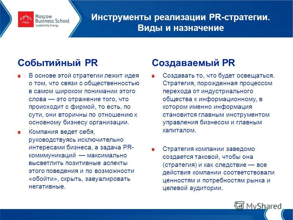Инструменты реализации PR-стратегии. Виды и назначение Событийный PR В основе этой стратегии лежит идея о том, что связи с общественностью в самом широком понимании этого слова это отражение того, что происходит с фирмой, то есть, по сути, они вторич