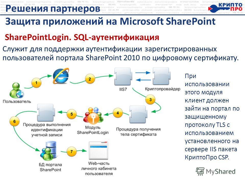 Служит для поддержки аутентификации зарегистрированных пользователей портала SharePoint 2010 по цифровому сертификату. Решения партнеров Защита приложений на Microsoft SharePoint При использовании этого модуля клиент должен зайти на портал по защищен