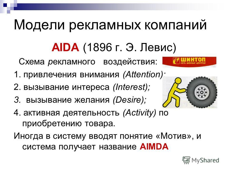Модели рекламных компаний AIDA (1896 г. Э. Левис) Схема рекламного воздействия: 1. привлечения внимания (Attention); 2. вызывание интереса (Interest); 3. вызывание желания (Desire); 4. активная деятельность (Activity) по приобретению товара. Иногда в