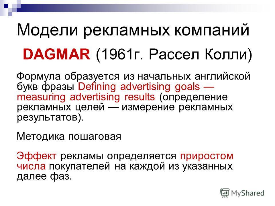 Модели рекламных компаний DAGMAR (1961г. Рассел Колли) Формула образуется из начальных английской букв фразы Defining advertising goals measuring advertising results (определение рекламных целей измерение рекламных результатов). Методика пошаговая Эф