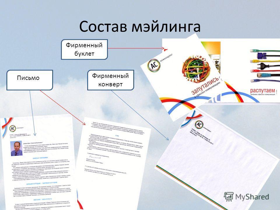 Состав мэйлинга Фирменный буклет Фирменный конверт Письмо