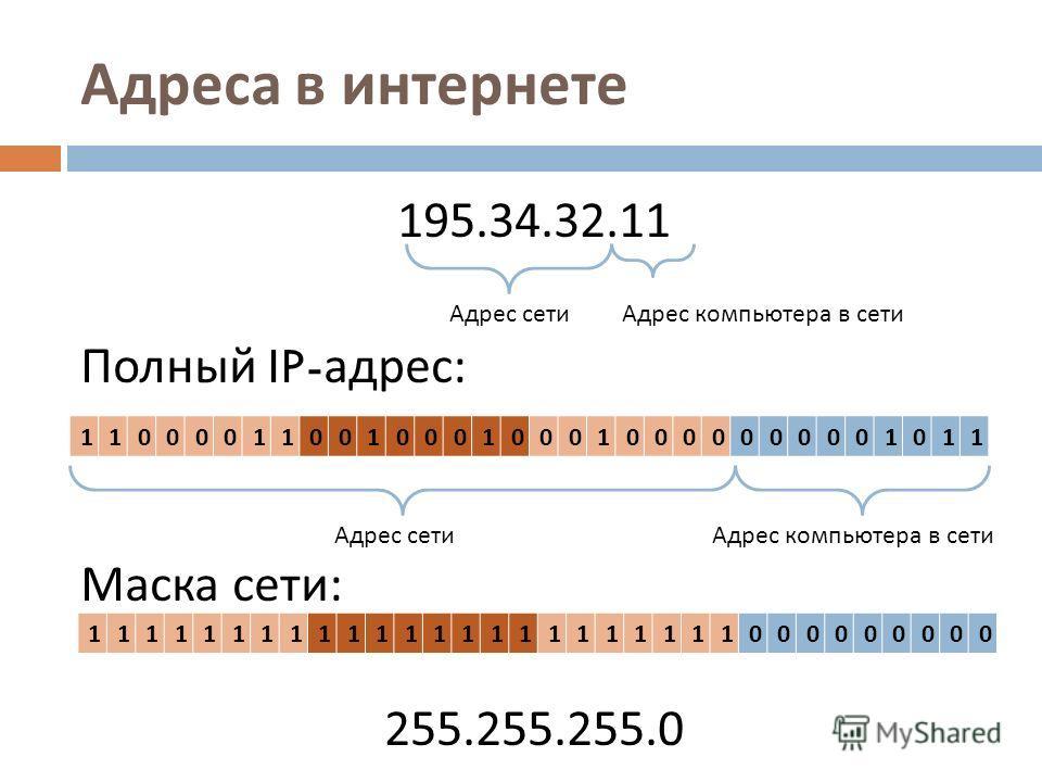 195.34.32.11 Полный IP- адрес : Маска сети : 255.255.255.0 Адреса в интернете Адрес сетиАдрес компьютера в сети 11000011001000100010000000001011 Адрес сетиАдрес компьютера в сети 11111111111111111111111000000000