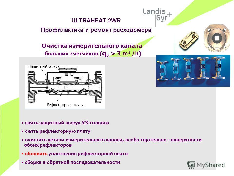 Очистка измерительного канала больших счетчиков ( q p > 3 m 3 /h) снять защитный кожух УЗ-головок снять рефлекторную плату очистить детали измерительного канала, особо тщательно - поверхности обоих рефлекторов обновить уплотнение рефлекторной платы с