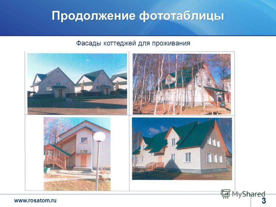 www.rosatom.ru Продолжение фототаблицы 3 Фасады коттеджей для проживания