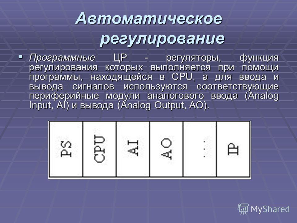 Автоматическое регулирование Программные ЦР - регуляторы, функция регулирования которых выполняется при помощи программы, находящейся в CPU, а для ввода и вывода сигналов используются соответствующие периферийные модули аналогового ввода (Analog Inpu