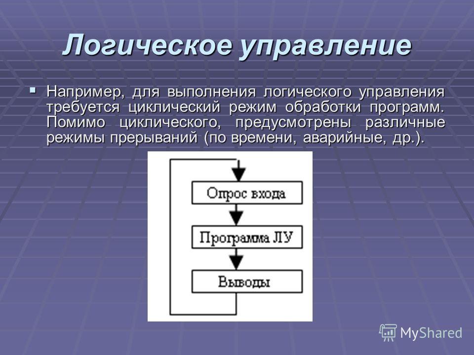 Логическое управление Например, для выполнения логического управления требуется циклический режим обработки программ. Помимо циклического, предусмотрены различные режимы прерываний (по времени, аварийные, др.). Например, для выполнения логического уп
