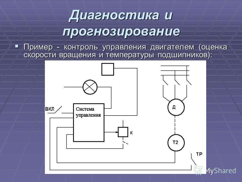 Диагностика и прогнозирование Пример - контроль управления двигателем (оценка скорости вращения и температуры подшипников): Пример - контроль управления двигателем (оценка скорости вращения и температуры подшипников):