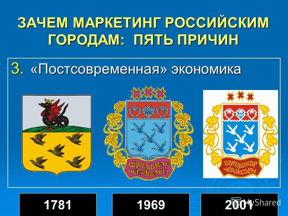 ЗАЧЕМ МАРКЕТИНГ РОССИЙСКИМ ГОРОДАМ: ПЯТЬ ПРИЧИН 3. «Постсовременная» экономика 178119692001
