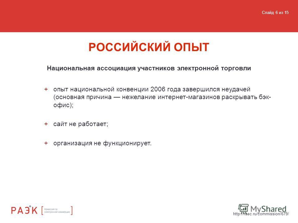 Национальная ассоциация участников электронной торговли РОССИЙСКИЙ ОПЫТ http://raec.ru/commission/679/ +опыт национальной конвенции 2006 года завершился неудачей (основная причина нежелание интернет-магазинов раскрывать бэк- офис); +сайт не работает;