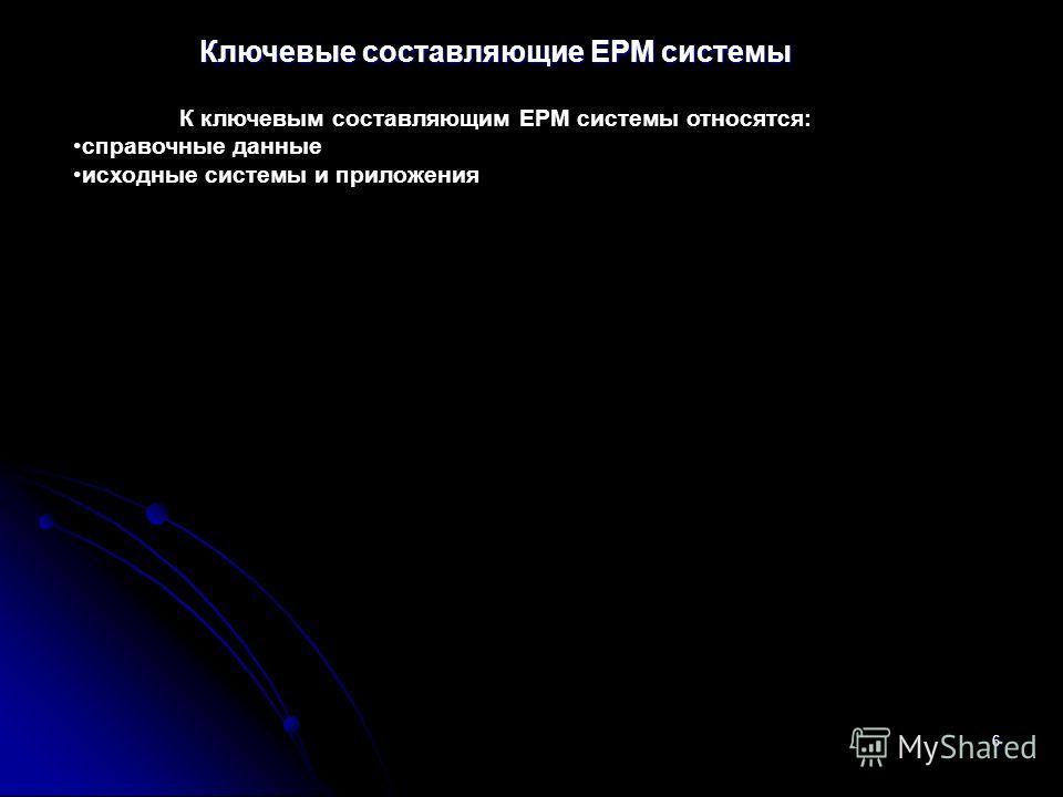 6 Ключевые составляющие ЕРМ системы К ключевым составляющим EPM системы относятся: справочные данные исходные системы и приложения