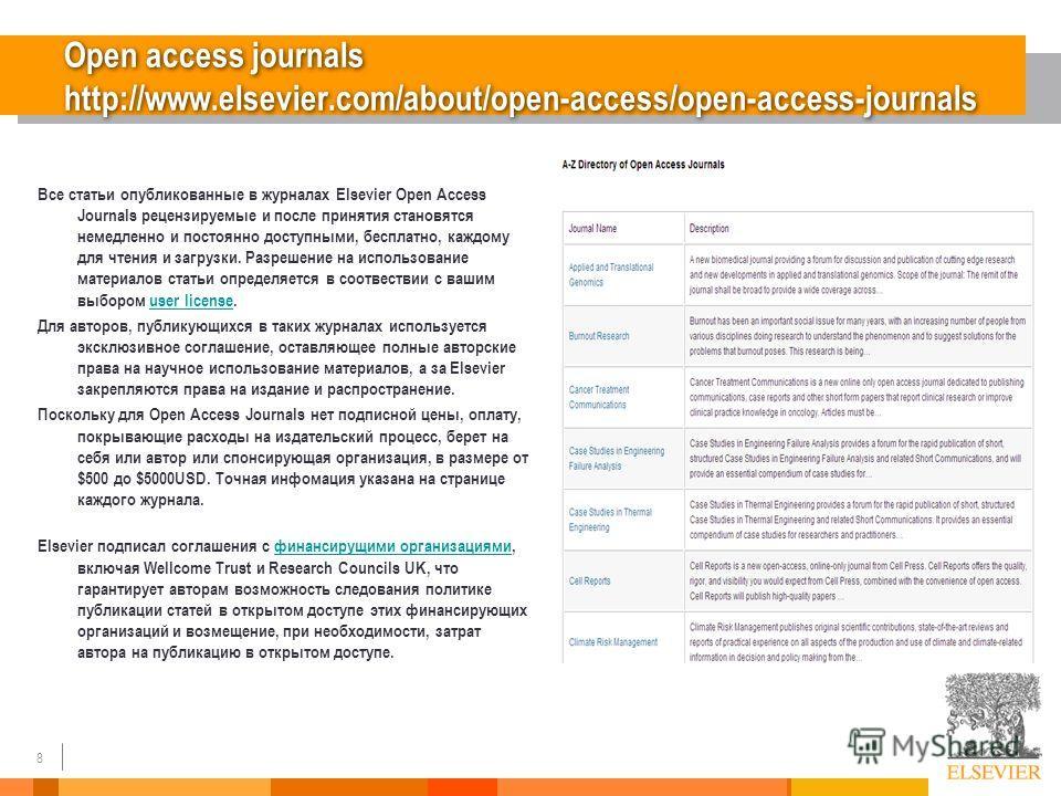 8 Open access journals http://www.elsevier.com/about/open-access/open-access-journals Все статьи опубликованные в журналах Elsevier Open Access Journals рецензируемые и после принятия становятся немедленно и постоянно доступными, бесплатно, каждому д