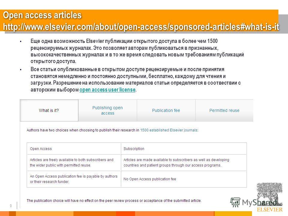 9 Open access articles http://www.elsevier.com/about/open-access/sponsored-articles#what-is-it Еще одна возможность Elsevier публикации открытого доступа в более чем 1500 рецензируемых журналах. Это позволяет авторам публиковаться в признанных, высок