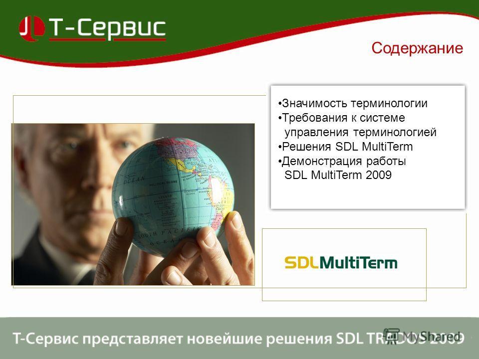 Содержание Значимость терминологии Требования к системе управления терминологией Решения SDL MultiTerm Демонстрация работы SDL MultiTerm 2009